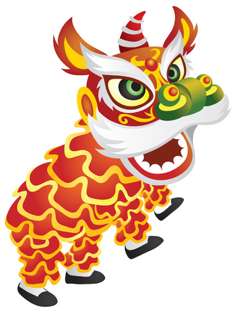 A traditional chinese dragon dance  illustration Illustration