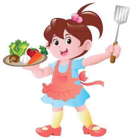 delantal: Una niña con un plato lleno de ingredientes de alimentos crudos, listos para cocinar