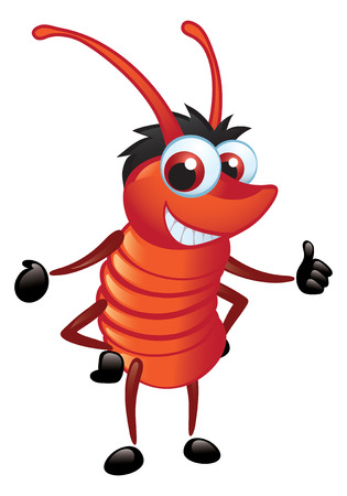 A fun cartoon red bug with a grin in a standing position Imagens - 8125251