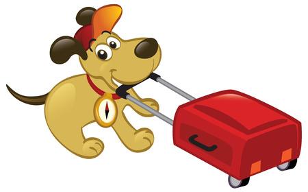 Perro de dibujos animados lindo tirando un equipaje, listo para viajar.