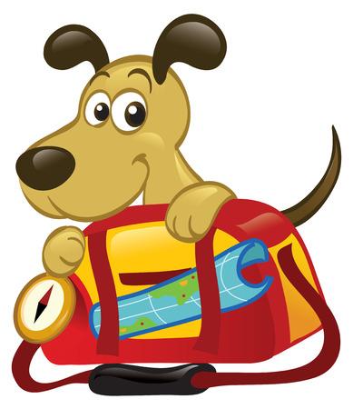 Cute cartoon dog sitting behind a big traveling bag.