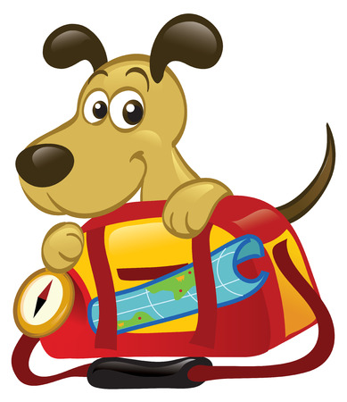 Cute cartoon dog sitting behind a big traveling bag.