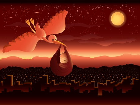 Illustration of a cartoon stork delivering a baby over a beautiful cityscape at night.