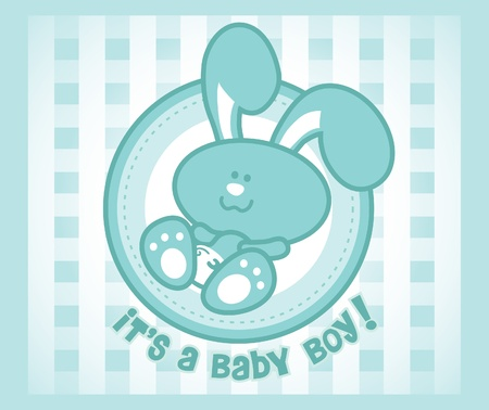 Cute baby bunny - male version. Great for any baby greeting cards.