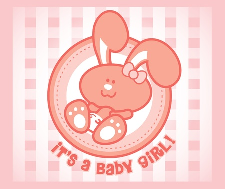 Cute baby bunny - female version. Great for any baby greeting cards. Vector