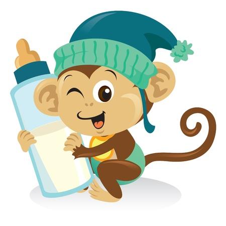 Cute baby monkey holding a big bottle of milk.