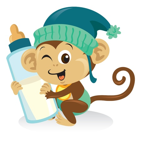 Cute baby monkey holding a big bottle of milk.