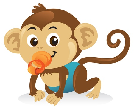 Cute baby monkey with a pacifier in a crawling pose. Illustration