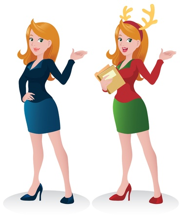 Beautiful Business Woman character doing  Presentation - Christmas Theme Illustration