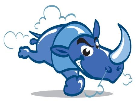 rhinoceros: Blue cartoon rhino charging forward.