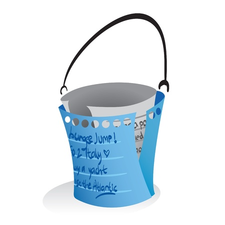 Illustration of a paper notes forming a bucket, a symbolization of bucketlist.