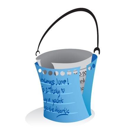 buckets: Illustration of a paper notes forming a bucket, a symbolization of bucketlist.
