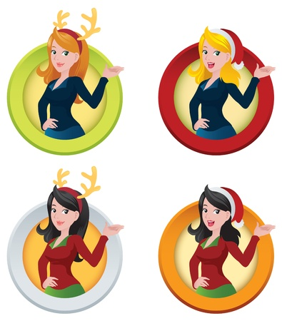 Christmas Themed Business Woman Web Buttons