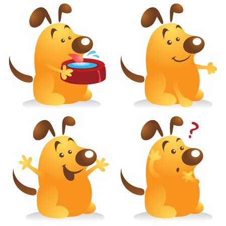sediento: Juego de caracteres de perro de dibujos animados lindo.