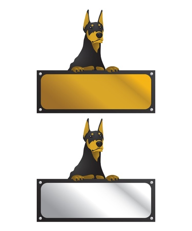Illustration of a doberman dog with a horizontal sign board. Vector