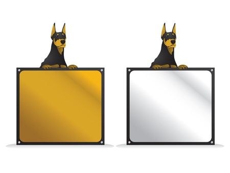 pointy ears: Illustration of a doberman dog with a square sign board.
