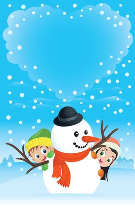 Winter love scene with a kids couple hiding behind a snowman. Great spacing for text. Perfect for any Valentine or Christmas needs.