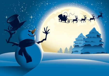 Illustration of a snowman waving to santa in a distance, blue version. Great for any Christmas needs.