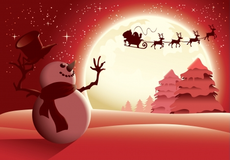 Illustration of a snowman waving to santa in a distance, red version. Great for any Christmas needs.