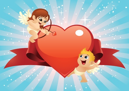 Cute cupids cartoon with a big shiny heart.