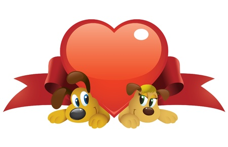 Cute cartoon dogs couple under a big shiny heart.