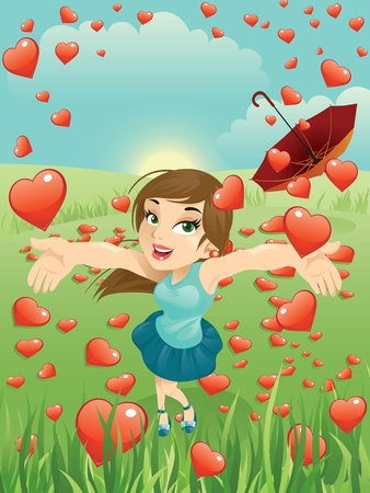 Illustration of a beautiful girl in a hearts rain. Great for any Valentine needs. Ilustração