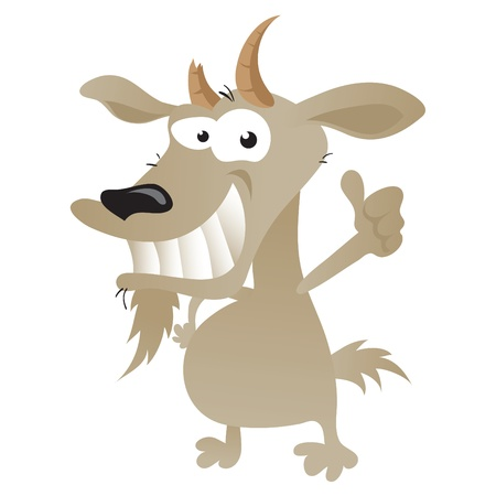 billy goat: Wacky goat cartoon character in thumbs up pose.