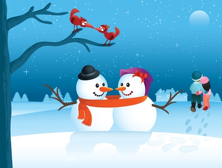 Love is in the air in this cartoon winter scene. Great for any Christmas or Valentine needs. Vector