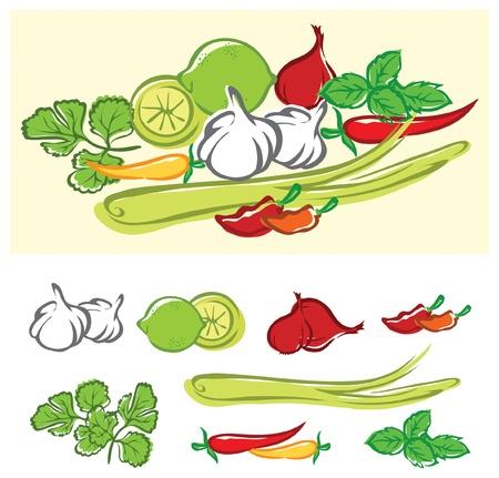 고명: Fresh cooking ingredients stylized illustration. The file is layered for easier editing.