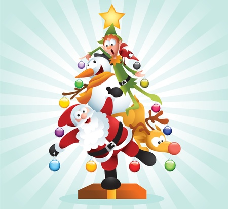 Funny illustration of famous Christmas cartoon characters forming a big Xmas tree. Vector