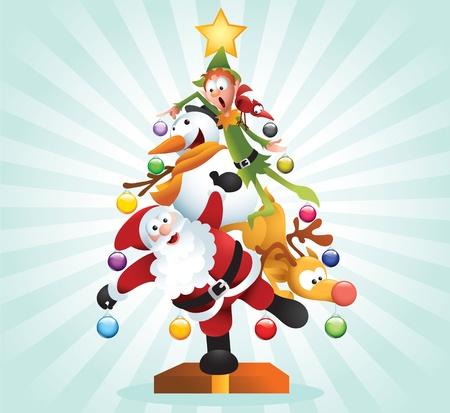 elf christmas: Ilustraci�n divertida de famosos personajes de dibujos animados de Navidad formando un gran �rbol de Xmas.