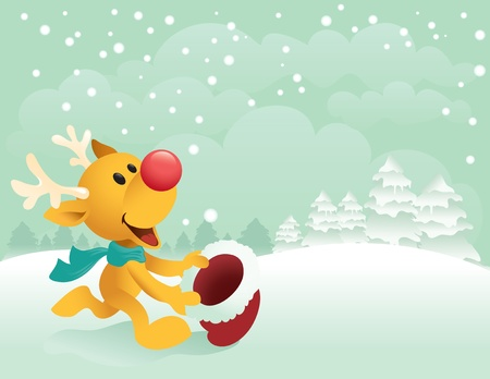Illustration of Little Rudolph running out to catch the first snow.