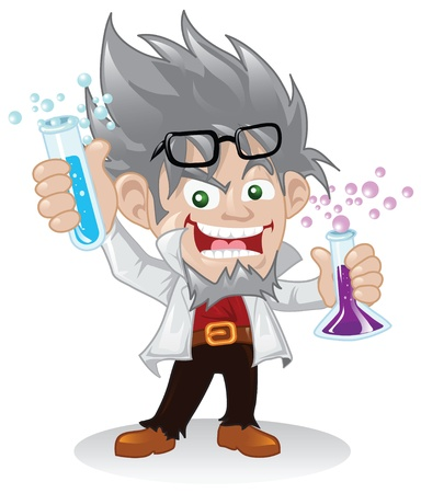 experimentieren: Mad Scientist-Cartoon-Figur. Illustration