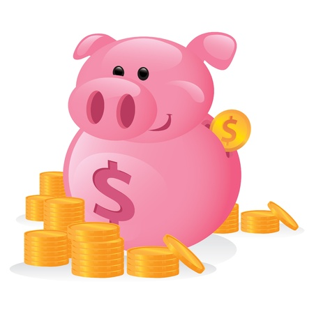 Cute piggy bank cartoon character. Vector