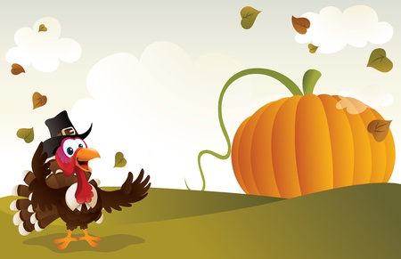 Pilgrim turkey cartoon with a giant pumpkin background.