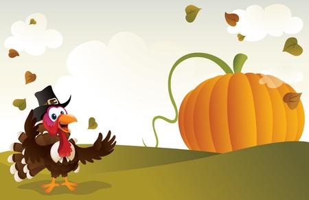 pilgrim hat: Pilgrim turkey cartoon with a giant pumpkin background.