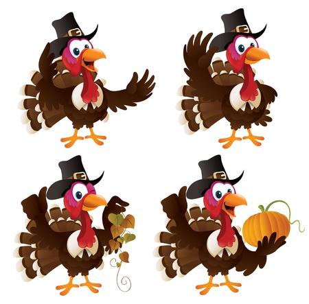 Pilgrim Turkey cartoon set. Ilustração