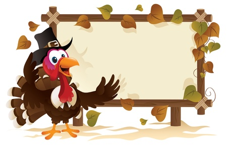 Pilgrim Turkey With A Signboard. Vector