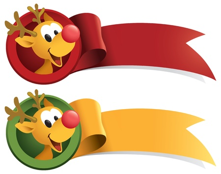 Little Rudolph Christmas ribbon. Great for banners and stickers. Imagens - 8446858