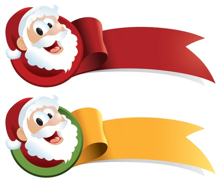 cartoon santa: Santa Claus cartoon Christmas ribbon.