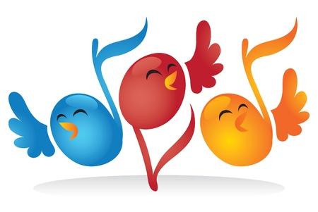 gente cantando: Aves en forma de nota de canto.