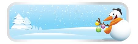 Snowman cartoon Christmas banner. Illustration