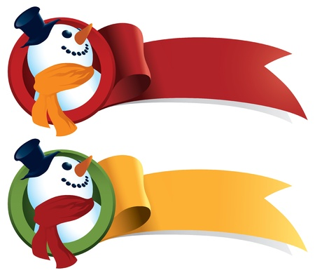 Snowman festive ribbon. Great for Christmas banners and stickers. Illustration