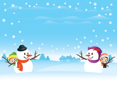 Snowman couple with kids. Great spacing for text. Perfect for any Valentine or Christmas needs. Ilustração