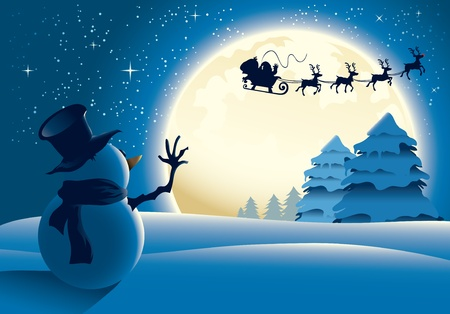 Illustration of a lonely snowman waving to santa in a distance. Great for any Christmas needs.