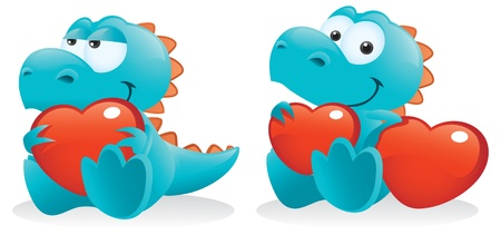 Cute Baby Dinosaur Posing With Hearts Stock Vector - 8617204