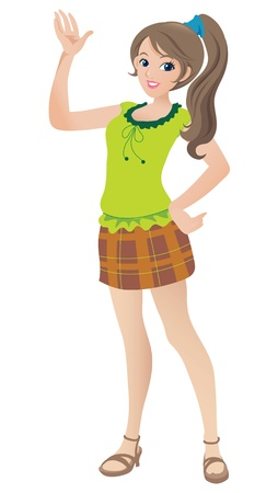 pretty: Cartoon illustration of a beautiful teenage girl with a ponytail waving and smiling.