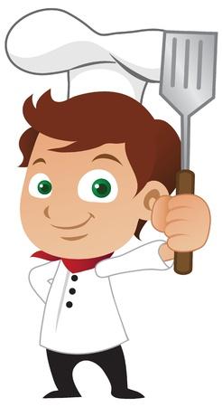 uniforme de chef: Joven chef masculino sosteniendo una cuchara fre�r