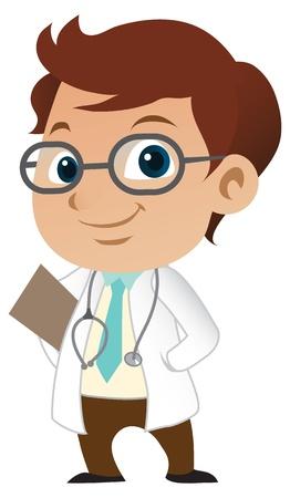 doctor dibujo animado: Lindo médico masculino poco Vectores