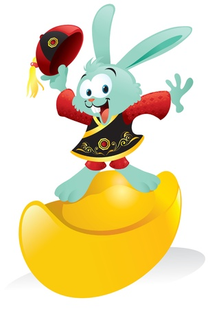 Cartoon illustration of a cute bunny wearing a traditional Chinese outfit posing happily on top of a gold ingot.